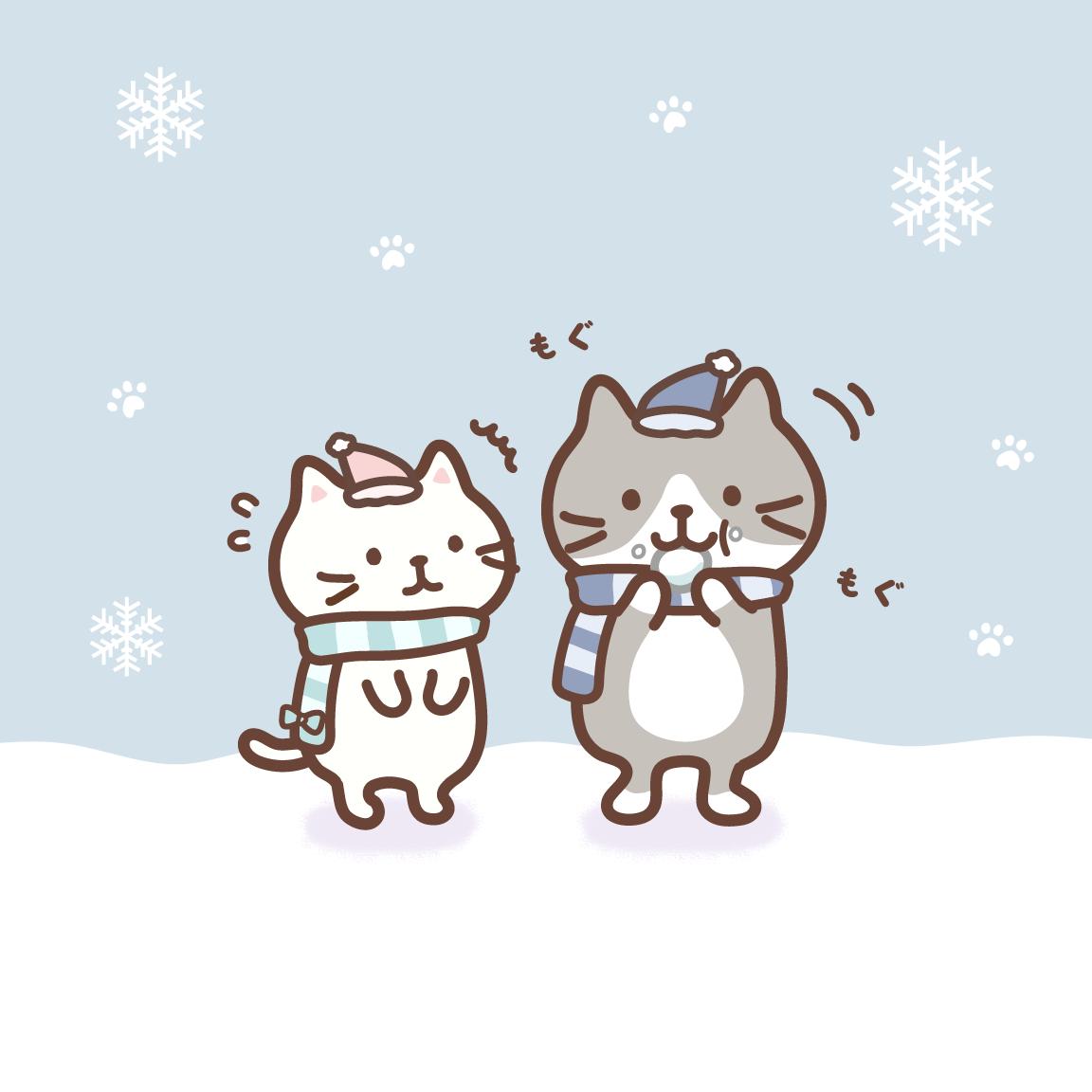 雪を食べるハッチに驚くしろたまちゃん